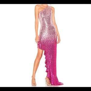 Lovers + Friends NWOT sequin gown with ruffles.